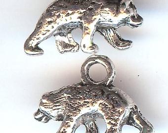 GRIZZLY BEAR Charm. Silver Plated Zinc Alloy. 3D Polar Bear. eb