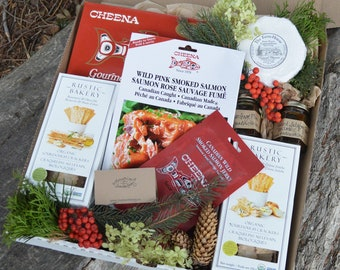 Foodie Gift Artisan Picnic Basket Box Wild Salmon Charcuterie Organic Camembert Cheese & Crackers Handcrafted Local Small Farm Preserves