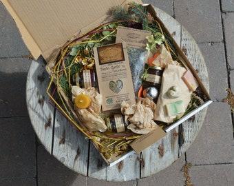 FIVE Fairy Love Eco Goodies Box Foodie Gift Box Gourmet Gift Artisan Jam Herbal Tea Pesto Beeswax Candle Soap Natural Food Gift Organic Gift