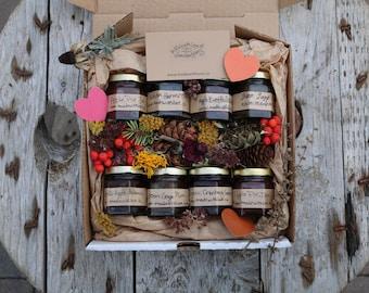 Artisan Jams Natural Preserves Syrups made with organic cane juice sugar, food forest fruit & botanicals 45 mL / 1.5 oz  glass jars
