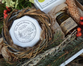 Foodie Gift Charcuterie Cheese Picnic Handcrafted Local Small farm Artisan Preserves Farm House Organic Camembert Cheese & Crackers Gift Box
