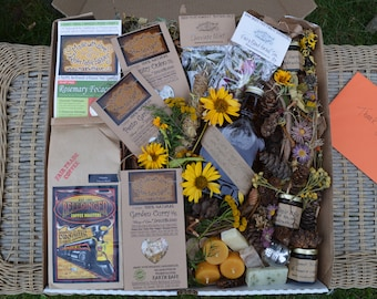 Deluxe Fairy Love Eco Goodies Box Foodie Gourmet Gift Artisan Jam Herbal Tea Pesto Beeswax Candle Handcrafted Soap Natural Organic Food Gift