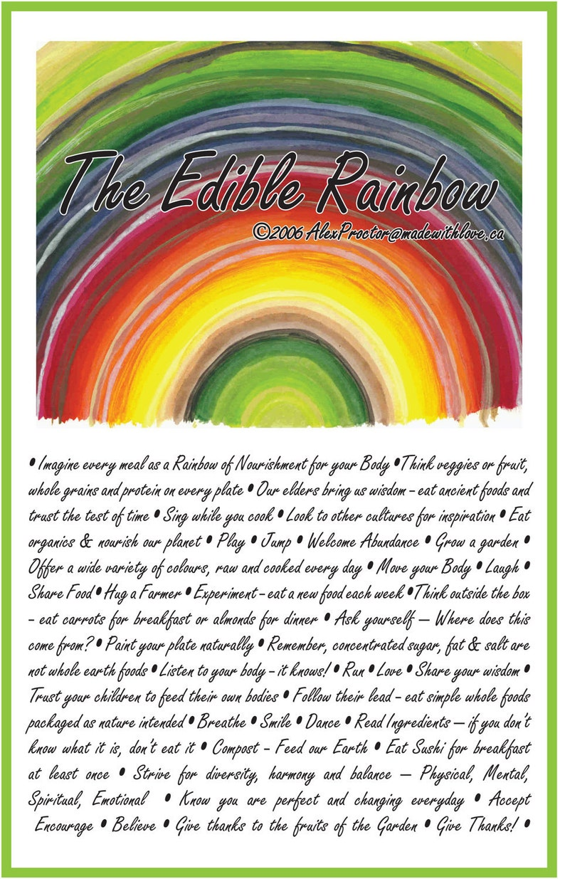 Eat the Edible Rainbow  Edible Rainbow Poster Inspirational image 0