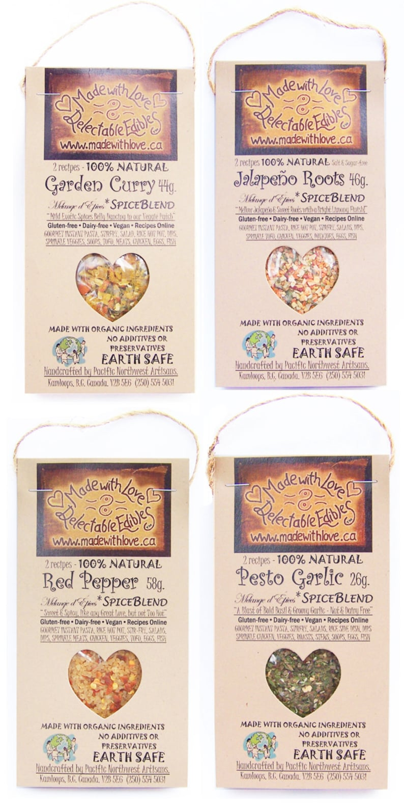 4 Pack  Artisan Spice Blends  Green Gift  Organic Food Herb image 0