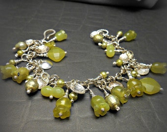 Sterling Silver Charm Bracelet with Carved Yellow  Green Chalcedony Stone Beads and Pearls