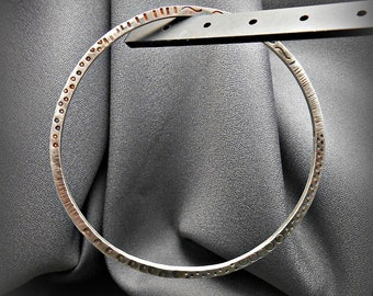 Bold Sterling Silver Square Wire Bangle Bracelet B with Patina and Brushed Finish