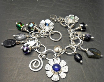 Forged Sterling  Silver Flower Charm Treasure Bracelet Prehnite Tanzanite Cats Eye Blue Goldstone