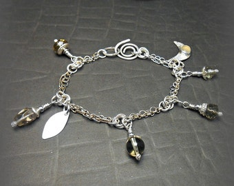 Handmade Sterling Silver Charm Bracelet with Lemon Quartz Stone Beads and Handmade Charms