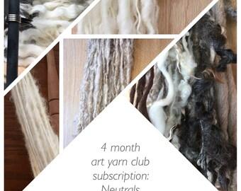 "Art yarn mystery club subscription - ""neutrals"", monthly subscription,  surprise handspun"