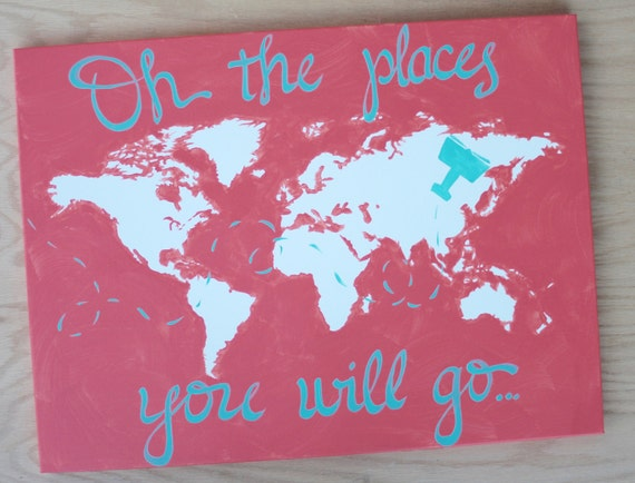 18x24 World Map Canvas Oh The Places You Will Go Custom Etsy
