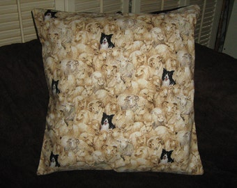 "BORDER COLLIE and SHEEP Pillow Cover 16"" X 16"" Makower Rare Out of Print Fabric"