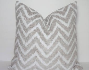 Textured Taupe Beige White Neutral Chevron Pillow Cover Decorative Throw Pillow Cover Home Decor by HomeLiving 18x18
