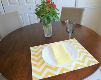 Yellow and White Chevron Zigzag Home Decor Placemats Dining Room Decor Placemats 13x17