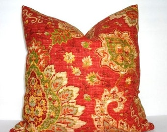 SIZZLING SUMMER SALE Red Green Yellow Paisley Floral Pillow Cover Decorative Pillow Cover Size 18x18