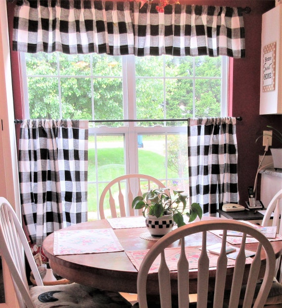 Buffalo Plaid Cafe Curtain Window Treatment Tier Curtains