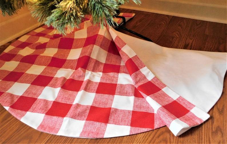 CHRISTMAS SALE SHIPS Fast! Christmas Tree Skirt Black Plaid Tree Skirt Red Plaid Tree Skirt Large Plaid Tree Skirt Buffalo Plaid Christmas
