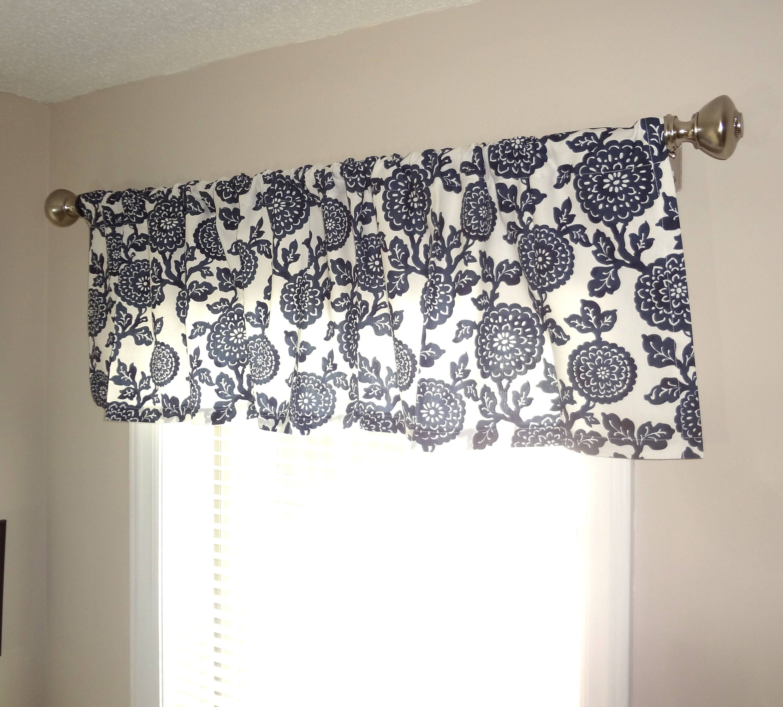Curtain Valance Topper Window Treatment 52x15 Navy & White