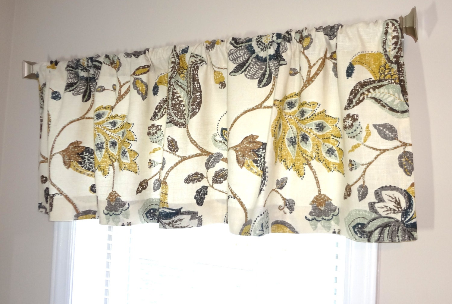 Curtain Valance Topper Window Valance 52x15 Brown Grey