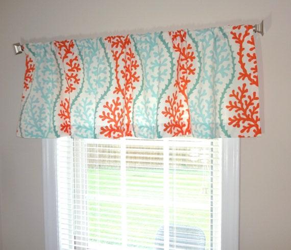 Curtain Valance Topper Window Treatment 52x15 Coral Stripe