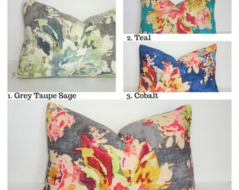 AS SEEN on BACHELOR Lumbar Pillow Cover Grey Teal Cobalt Sapphire Charcoal Floral Large Print Choose size