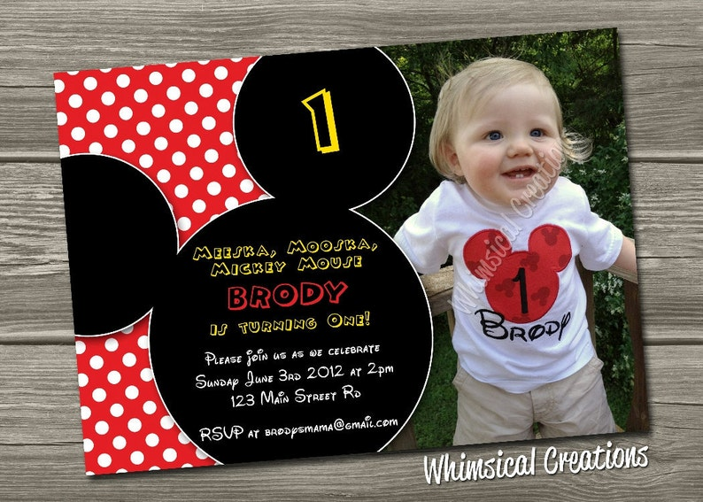 Mickey Mouse Birthday Invitation Digital File  Mickey Mouse image 0