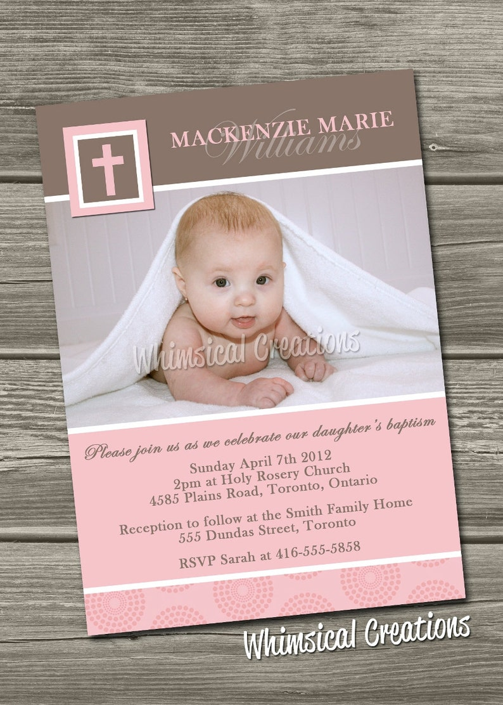 Christening Invitation Digital File Baptism Invitation  I image 0