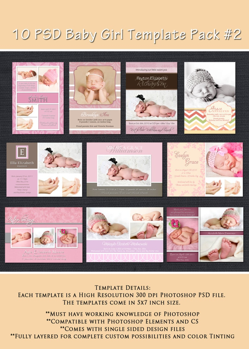 INSTANT DOWNLOAD  Birth Announcement Templates  Baby Girl image 0