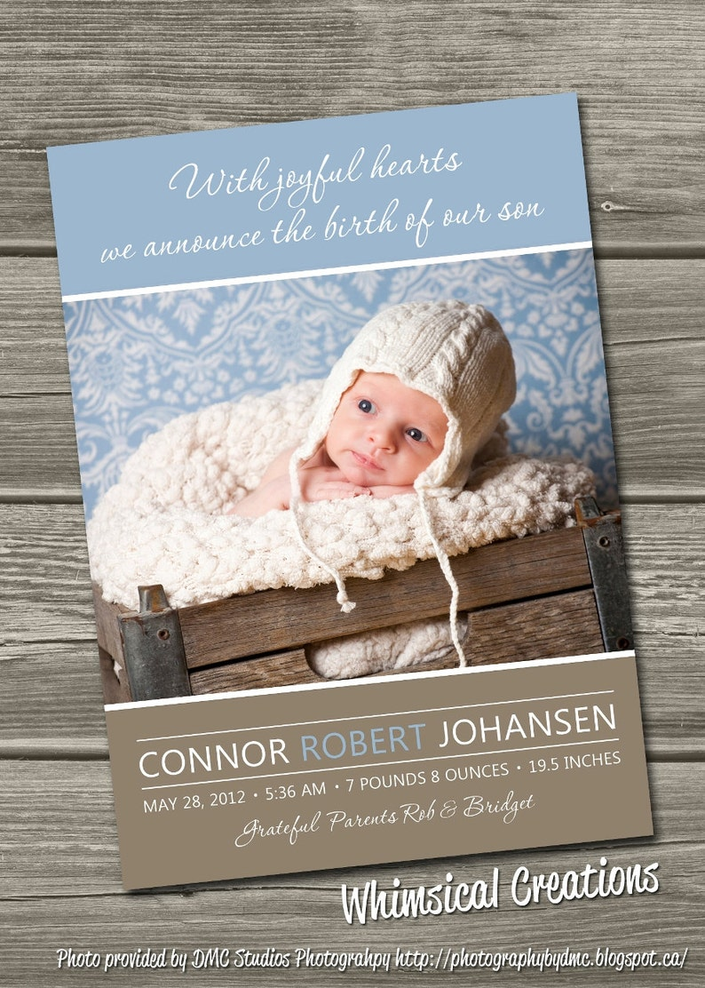 Baby Boy Birth Announcement Photo Card Digital File Conner  image 0