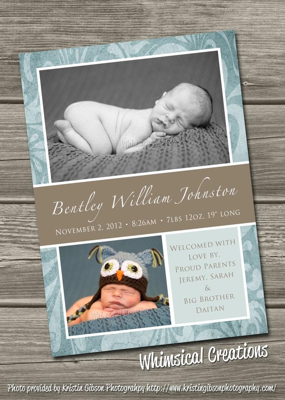 Baby Boy Birth Announcement Digital File William  I Design image 0