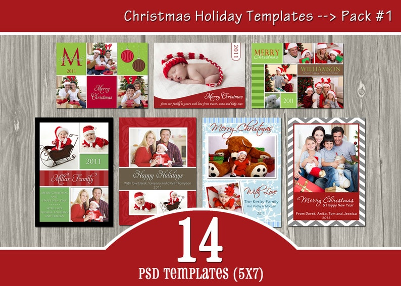 INSTANT DOWNLOAD  14 Holiday Templates Pack 1  PSD image 0