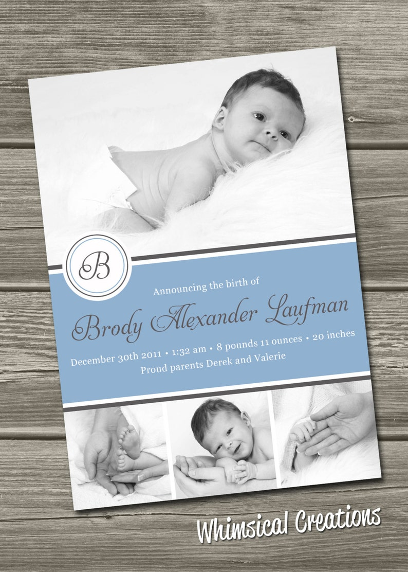 Baby Boy Birth Announcement Digital File Mitchell  I image 0