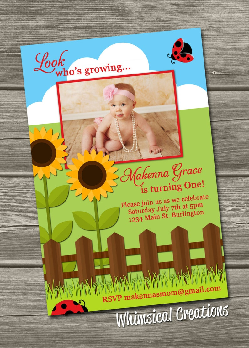 Lady Bug Sunflower Birthday Invitation Digital File image 0