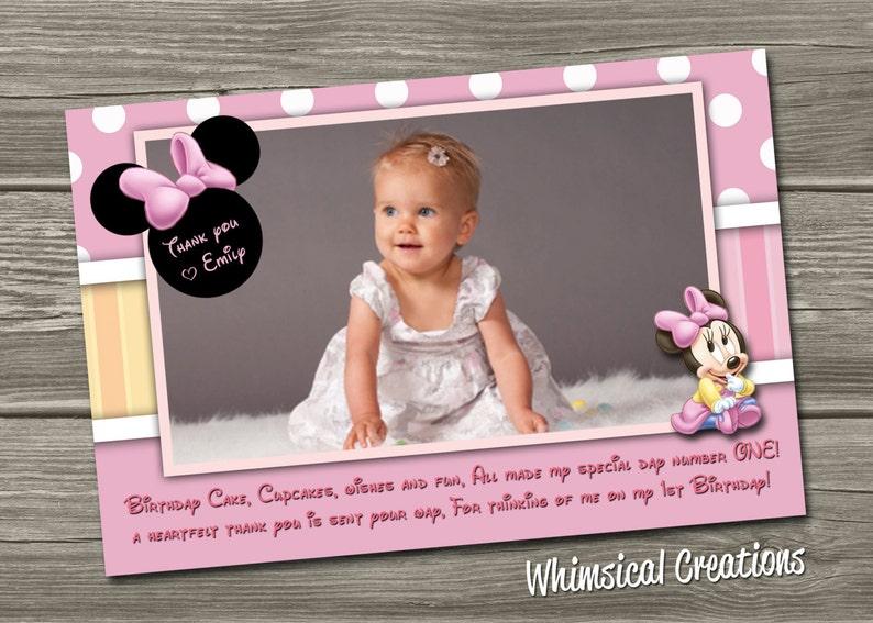 Minnie Mouse Thank You Photo Card  Digital File  Minnie image 0