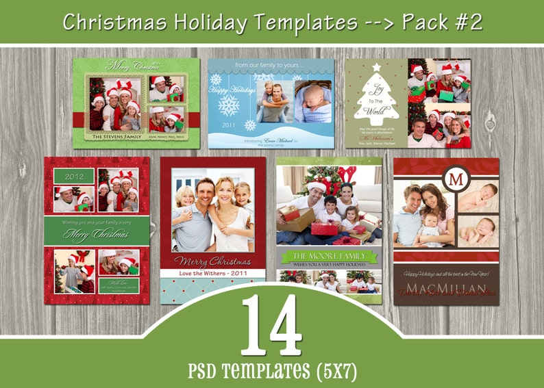 INSTANT DOWNLOAD  14 Holiday Card Templates  PSD Christmas image 0