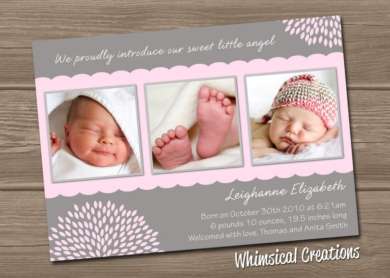Baby Girl Birth Announcement Digital File Leighanne  I image 0
