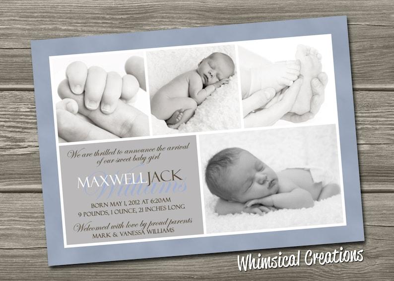 Baby Boy Birth Announcement Digital File Maxwell  I Design image 0