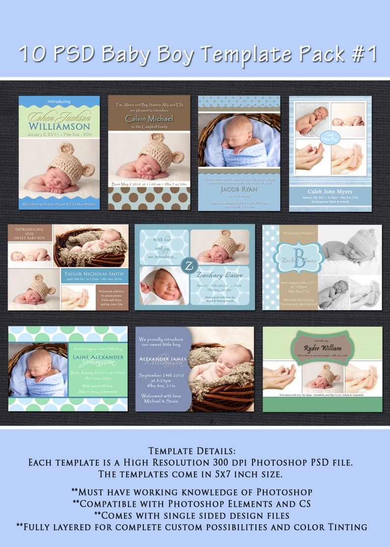 INSTANT DOWNLOAD  Birth Announcement Templates  Baby Boy image 0