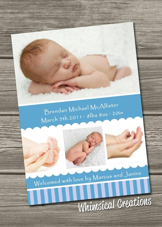 Baby Boy Birth Announcement Digital File Brendan  I Design image 0