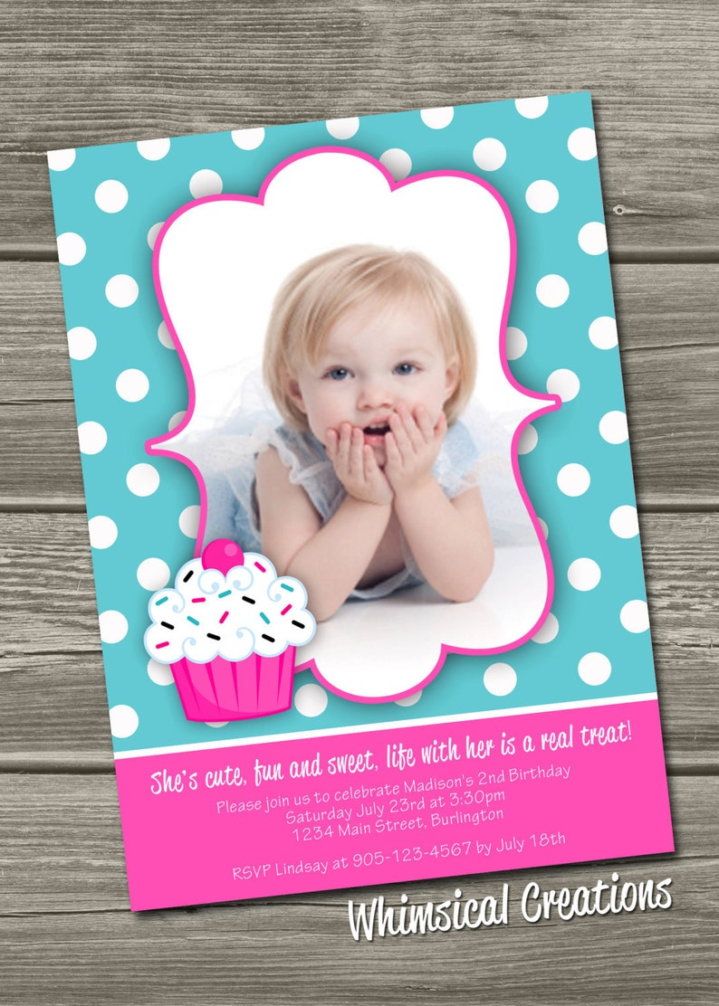 Cupcake Birthday Invitation Digital File  I Design You image 0