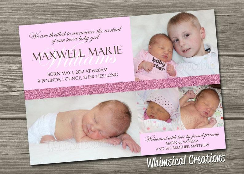 Baby Girl Birth Announcement Digital File Maxi  I Design image 0