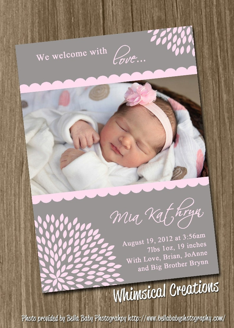 Sweet Baby Girl Birth Announcement Digital File Alexis  I image 0