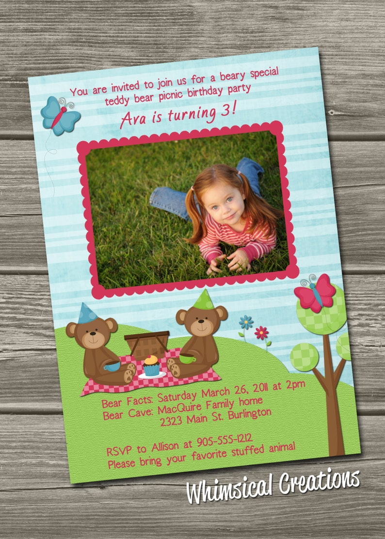 Teddy Bear Picnic Birthday Invitation Digital File 1 image 0