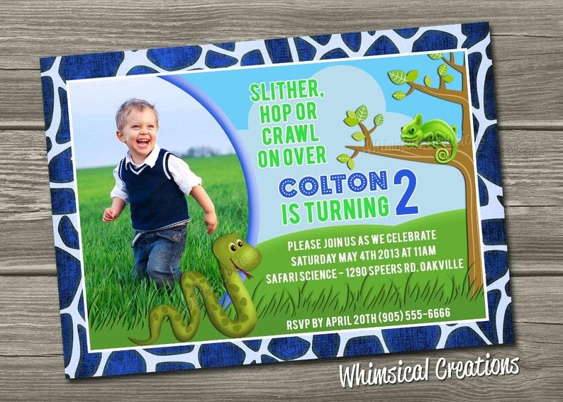 Reptile Themed Birthday Invitation Digital File  I Design image 0