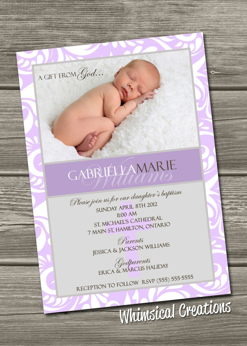 Baptism Invitation Digital File Lilac Christening Invitation image 0