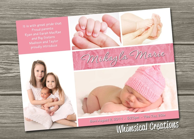 Baby Girl Birth Announcement Digital File Mikayla  I image 0