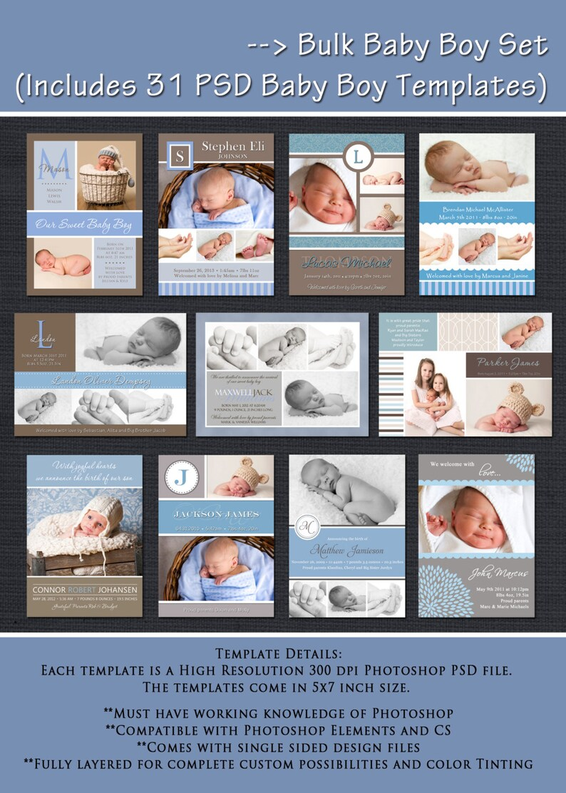INSTANT DOWNLOAD  Baby Boy Birth Announcement Templates  Boy image 0