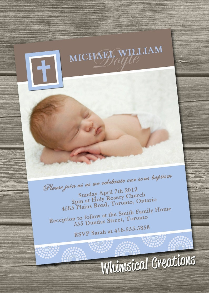Christening Invitation Digital File Baptism Invitation  I image 0