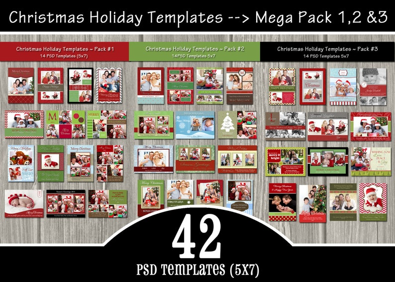 42 Holiday Card Templates MEGA Pack  PSD Christmas Templates image 0