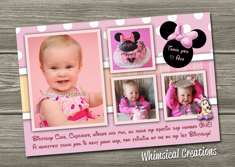 Minnie Mouse Thank You Card Digital File image 0