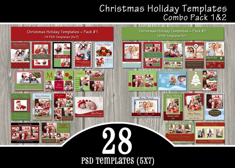 INSTANT DOWNLOAD  28 Holiday Card Templates Combo Pack  PSD image 0